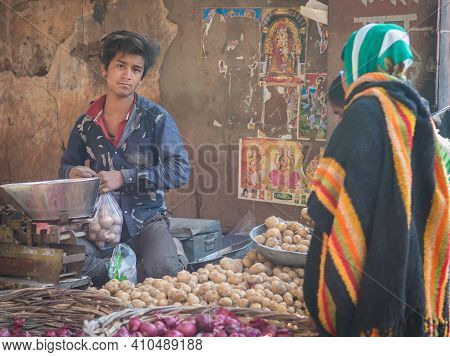 Jaipur, India. 09-05-2018. A Teenager Or Young Man Is Selling Vegetables In The Local Market In The