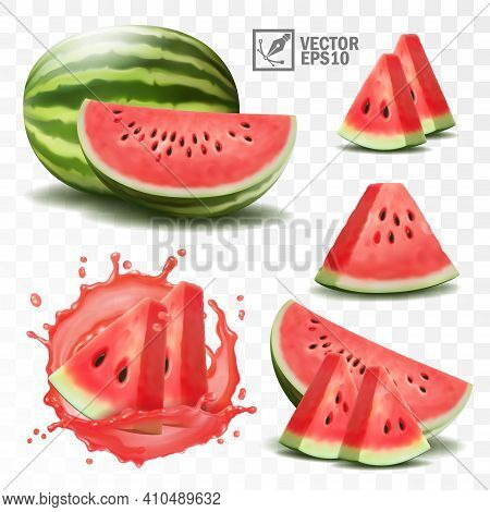 3d Realistic Transparent Isolated Vector Set, Whole And Slice Of Watermelon, Watermelon In A Splash