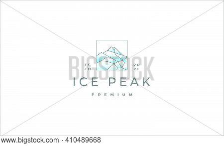 Ice Peak Mount Stone Mountain Adventure Icepeak Geometric Logo Line Art Outline Illustration