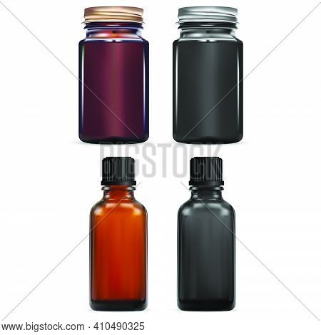 Brown Essential Oil Vial. Dark Chemical Pill Bottle. Small E Juice Syrup Jar, Apothecary Laboratory