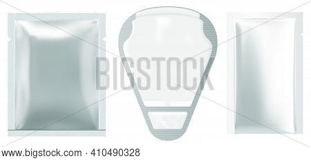 Napkin Package. Face Mask Sachet Mockup. Silver Packet, Wet Wipe Pack. Foil Pouch Design Mock Up, 3d