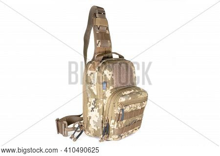 Small Army Combat Rucksack Isolated On White Background, Studio Shot