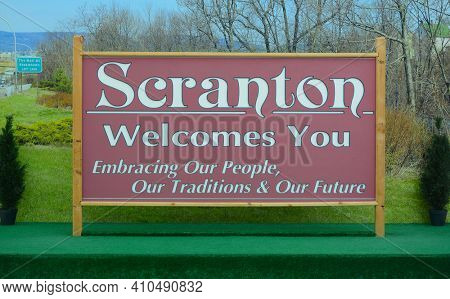 """SCRANTON, PENNSYLVANIA - 30 OCT 2019: The Scranton Welcome Sign, used in the """"The Office"""