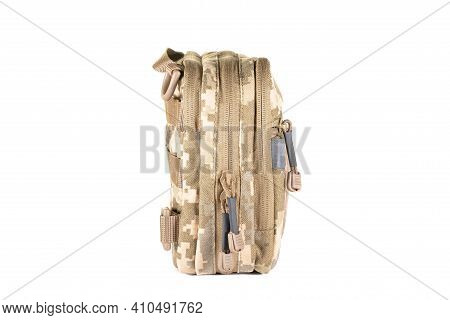 Green Canvas Backpack Isolated On White. Front View Of Modern Waterproof Camping Traveler Back Pack