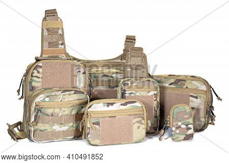 Set Of Travel Tactical Khaki Backpack On White Background. Military Equipment. Camouflage Color