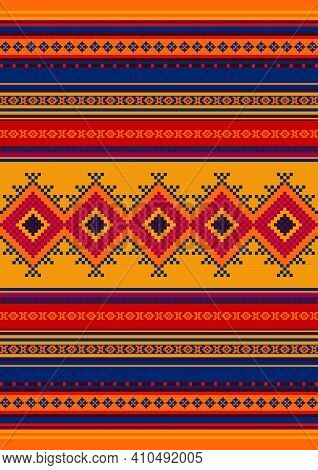 Ethnic Pattern. Mexican Rug, Blanket. Colorful Carpet Ornament.