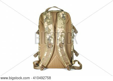 Backpack For Hiking And Hunting. Camouflage Backpack Suitable For The Forest. Woodland Camouflage Mi