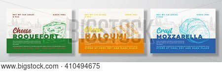 Dairy Food Label Templates Set. Abstract Vector Packaging Design Layouts Collection. Modern Typograp