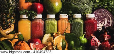 Fresh Smoothies Or Juices For Detox Weight Loss Diet. Colorful Juices In Vacuum Bottles With Fruit,