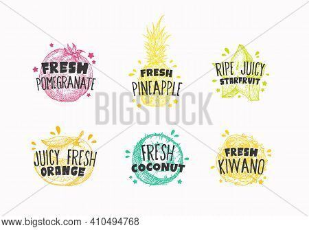 Juicy Fresh Ecxotic Fruits Badges, Labels Or Logo Templates Collection. Hand Drawn Pomegranate, Kiwa