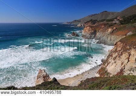 Big Sur California Landscape. Pacific Coast At Big Sur Region.