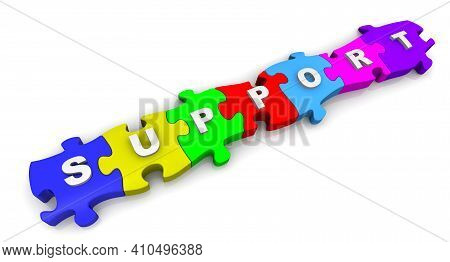 Support. Word On The Puzzles. The Word Support Is Made Up Of Multi-colored Puzzles On White Surface.
