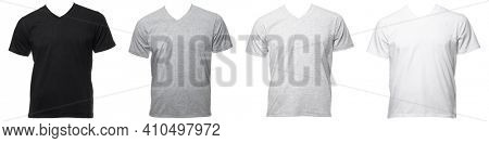 Real plain shortsleeve cotton V-Neck T-Shirt templates of various shades isolated on a white background