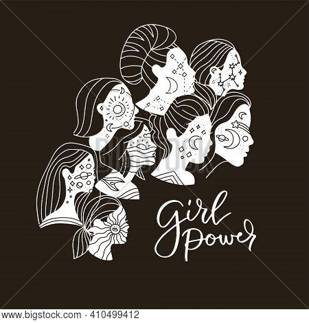 Women Unity Concept In Black White, Abstract Aesthetic Minimal Linear Style. Female Faces With Moon,