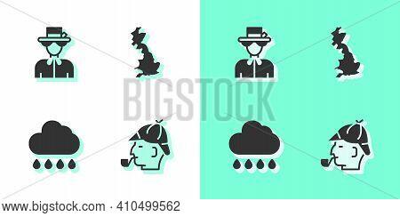 Set Sherlock Holmes, Queen Elizabeth, Cloud With Rain And England Map Icon. Vector