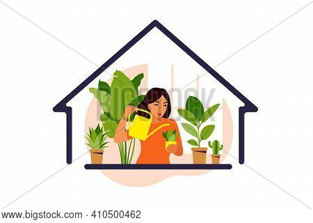 Stay Home Concept. Woman Watering Houseplants At Home. Home Garden And Houseplants Concept. Flat Vec