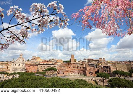 Spring In Rome, Italy. Rome Cityscape Ancient Roman Ruins In Foro Traiano (trajan's Forum).
