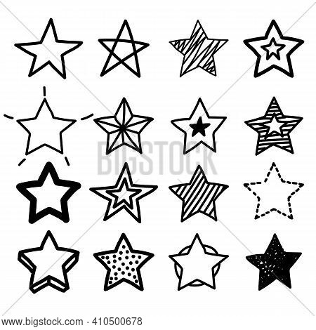 Doodle Star. Hand Drawn Scribble Sketch Icons. Vector Grunge Line Handdrawn Stars