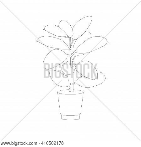 Flower Pot Ficus In Pot Monochrome Icon Art Design Element Stock Vector Illustration For Web, For Pr