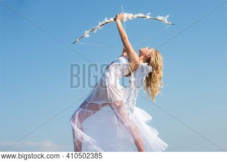 Sexy Angel Girl With White Wings. Cupid Bow And Arrow. Sweet Angelic Woman. Valentines Day