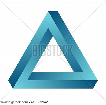 Impossible Triangle. Eternal Figure. Penrose Optical Illusion. Turquoise Gradient Endless Triangular