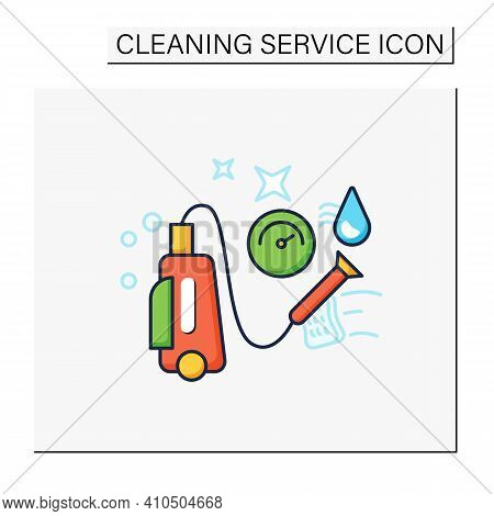 Pressure Washing Color Icon. Power Washing. Hydro-jet Cleaning. High-pressure Water Spray Usage To R