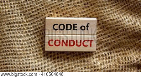 Code Of Conduct Symbol. Concept Words 'code Of Conduct' On Wooden Blocks On A Beautiful Canvas Backg