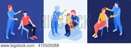Vaccination Isometric Design Concept With Thee Square Compositions Showing Medical Staff Vaccinates