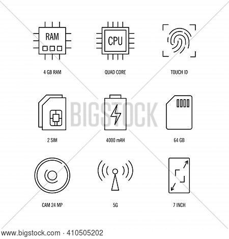Smartphone Specification Icons Set On White Background, Smartphone Specification Icons Set Trendy An