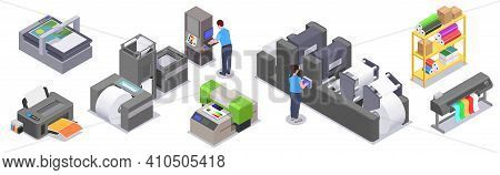Printing House Isometric Collection Of Isolated Icons With Color Print Equipment Facility With Print