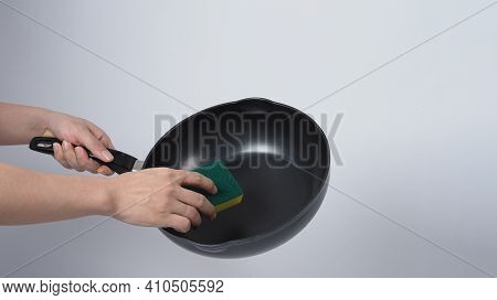 Clean The Pan, Man In Grey Color T Shirt Cleaning The Non Stick Pan