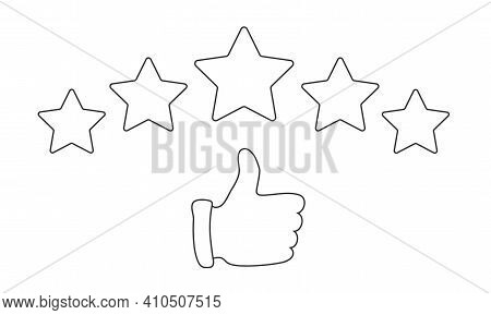Thumb Up Pointing At Positive Five Star Feedback. Rating, Evaluation, Success, Feedback, Quality