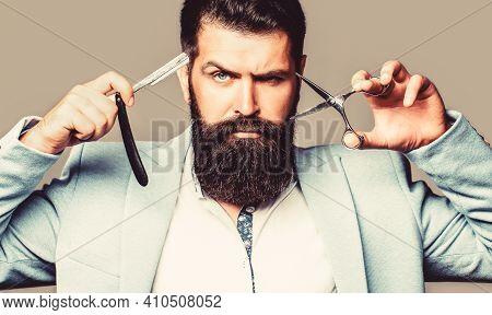 Mens Haircut. Barber Scissors And Straight Razor, Barber Shop Beard Man, Bearded Male. Portrait Bear