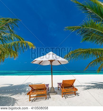 Amazing Scenery, Relaxing Beach, Tropical Landscape Background. Summer Vacation Travel Holiday Desig