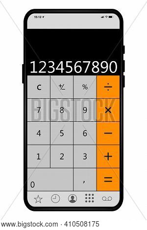 Calculator On Smartphone Screen. Isolated On White Background. Phone With Calculator Application On