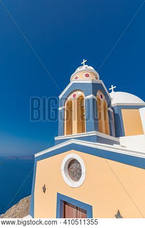 Orthodox Church Building On Santorini. Traditional White Architecture And Greek Orthodox Churches Wi