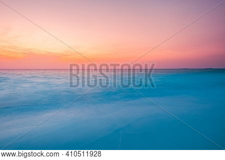 Closeup Of Sand On Beach And Blue Summer Sky. Panoramic Beach Landscape. Long Exposure Tropical Beac