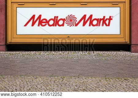 Berlin, Germany - July 12, 2020: Media Markt Logo On A Building. Media Markt Is A German Chain Of St