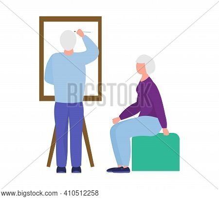Pensioners Painting. Hobbies Of The Elderly. Rest For The Elderly. Happy Elderly Couple Together. Gr