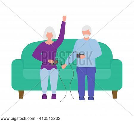 Senior Citizens Playing Video Game Holding Joysticks. Rest For The Elderly. An Elderly Man And An El