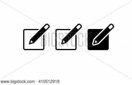 Diary Notebook Line Black Icon Set. Notepad Sign. Organizer. Copybook. Reminder. Notice. Create File