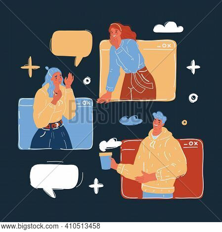 Vector Illustration Of Chat Talk Addiction Concept. Young People Using Smartphones For Sending Messa