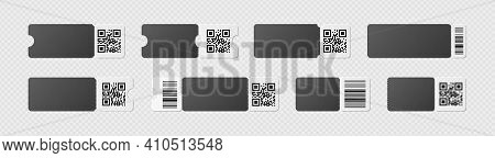 Blank Black And White Ticket Template Mockup With Barcode. Realistic Discount Voucher With Qr Code A