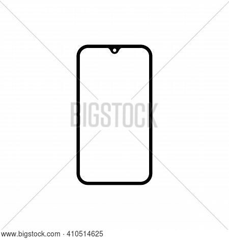 Smartphone Vector Icon. Wireframe Contour Of Mobile Phone, Cellphone Sign On White Background. Elega