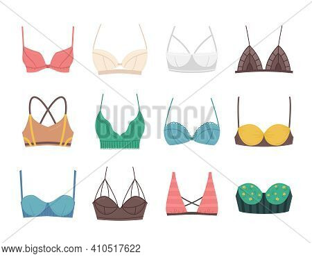 Cartoon Color Bra Bustier Different Types Icon Set Concept Flat Design Style. Vector Illustration Of