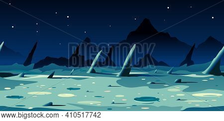 Moon Landscape With Sharp Danger Rocks And Craters On Black Space With Stars, Game Background Tileab