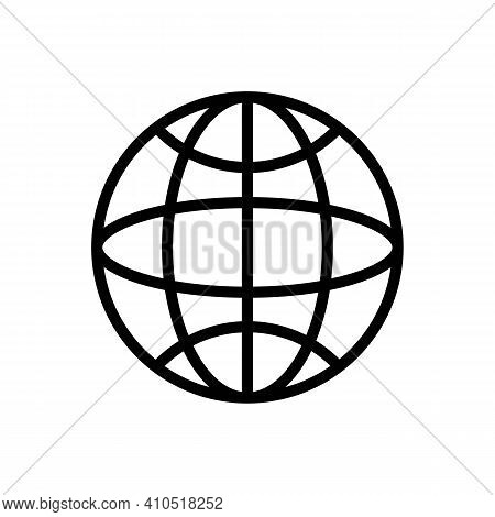 Web Internet Access Globe Icon In Black Outline Trendy Flat Style Isolated On White Background. Site