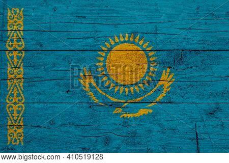 Flag Of Kazakhstan Wooden Texture Of The Flag Of Kazakhstan.