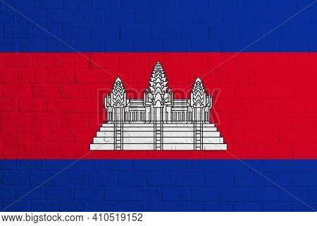 Flag Of Cambodia Brick Wall Texture Of The Flag Of Cambodia.
