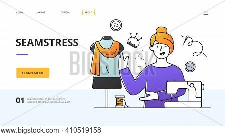 Website Template For A Seamstress Or Fashion Designer Showing Her In A Workshop Designing And Sewing